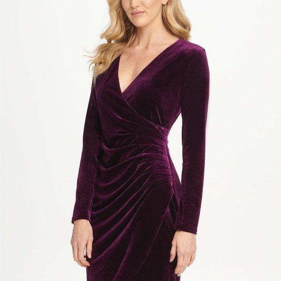 Dkny Dresses & Skirts - DKNY Velvet Side Ruche Sheath Dress Grape Size 4